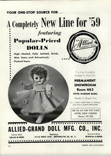 1959 PAPER AD Allied Grand Doll Toy Co Fully Jointed Cries Wets Drinks