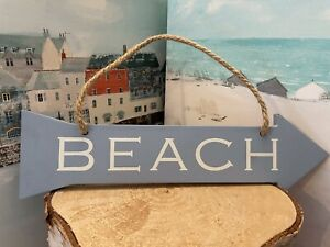 """Hanging Rustic Shabby Chic Sign: """"BEACH """" Blue Painted Pointed Arrow Sign"""