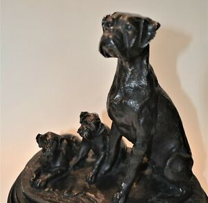 Black bronze boxer and pups figure signed BARIE antique recasting of A L Barye