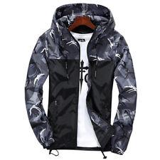 Men Camo Camouflage Hooded Zipper Jacket Windbreaker Coat Tops Outwear Plus Size