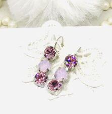 3 stone Long Light Pink Drop Earrings used Light Pink Opal Swarovski Crystals