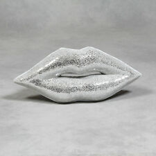 Large Crackle Glass Silver Mirror Lips / Relief Wall Hanging 83 cm Wide New