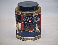 Old Vintage Asian Scenes Litho Metal Tin Can w Lid Storage Jar Blue Red & Gold