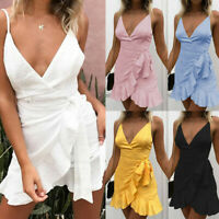 Women V-Neck Solid Lace Up Summer Strap Backless Beach Party Mini Swing Dress