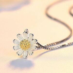 Women Sun Flower Pendant Chain Necklace 925 Sterling Silver Jewellery Gift UK