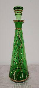 Gorgeous Vintage Retro Green And Gold Genie Bottle 34cm
