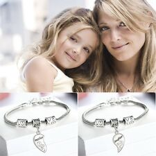 2Pcs  Gift Love Bracelet Mother And Daughter Jewelry Set Heart Bangle