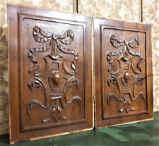 Pair ribbon armorial wood carving panel antique french architectural salvage