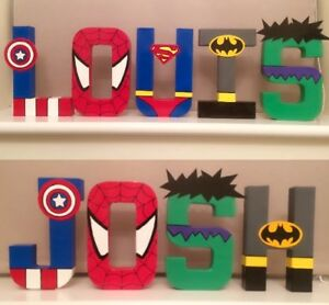 Childrens personalised letters names. Avengers Marvel superhero boys batman gift