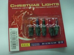 Pack of 5 Coloured Push In Spare Fairy Bulbs 5v 0.7w 0.14a (S33)
