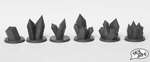 Wargaming Set of 6 40mm Numbered Objective Markers - Crystals - Warhammer 40K