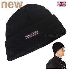 NEW MENS THERMAL LINING Beanie Hat BLACK Winter Warm & Cosy One Size Fits All-UK