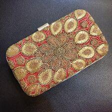 Gold red diamanté evening clutch bag Shoulder strap party prom wedding handbag
