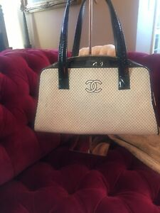 RARE! W/ Tag Attached  02c Vintage Chanel Fabric Doctor Style Tote Bag