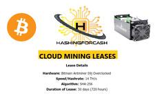 30 Days 14TH/s Bitcoin Crypto Mining Lease Antminer Bitmain S9 CloudMining BTC
