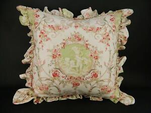 Jane Wilner Haute Couture Linens Pink Floral Cherub Angels Euro Ruffled Pillow