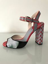 Fendi Floral Polka Dot Print Block Heel Leather Sandals Size 39 Mother's Day