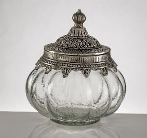 Victorian Trading Co NWD Wavy Glass Jar with Ornate Metal Lid 33B