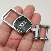 Audi solid chrome metal key ring tt s3 a3 a4 q7 a5 rs key cover case fob chain