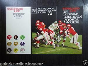 FOOTBALL 1972 Schedule  CFL LEAGUE STANDART LIFE COVER STEMPEDER VS ROUGH RIDER