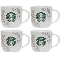 Set of 4 STARBUCKS 14  oz Swirl Siren Mug Green White Gold Metallic Coffee Tea