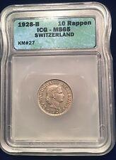 1928-B Switzerland 10 Rappen ICG MS65 KM 27