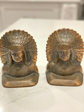 ANTIQUE Very Old Bronze Copper INDIAN CHIEF HEAD Bookends Vintage