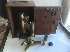 Vintage R & J Beck Brass Microscope - W/Box - London