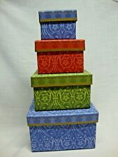 4 Stacking Nesting Colorful Patterned Gift Storage Rectangular Boxes with Lids