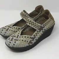 White Mountain Woven Mary Jane Wedge Shoes Women's Sz 10 Silver Gold