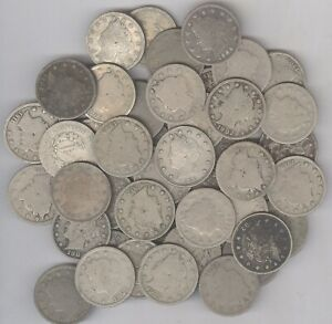 "Lot of 50 - Liberty Head -""V"" Nickels + 1883 thru 1912-D + No Reserve!"