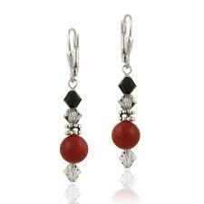 925 Silver Coral & Swarovski Elements Dangle Leverback Earrings
