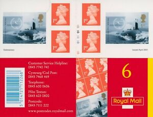 GB 2001 Submarines Self-adhesive Cylinder Stamp Booklet SG PM2 Cat £70