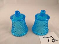 Set of 2 Votive Cups Homco Home Interior Blue Raised Dot Pattern Candleholders