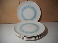 6 POOLE POTTERY TWINTONE WHITE & TURQUOISE ARABESQUE DESIGN 8 INCH PLATES 1960'S