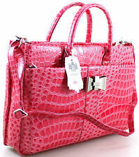 NEW LADIES LYDC PATENT MOCK CROC BRIEFCASE WORK LAPTOP SHOULDER HANDBAG FUCHSIA