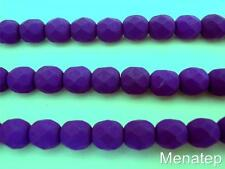 25 6mm Czech Glass Firepolish Beads: Neon - Electric Purple