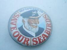 VINTAGE PROMO PINBACK BUTTON #97-131 - SAVE OUR SEA BIRDS - CAP'N BIRDS EYE