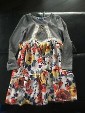 Truly Me Dress Grey & Floral Girls 7 Nwot