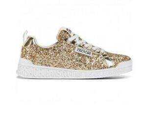 Versace Jeans Couture E0VZASP1 71621 Womens Glitter Trainers Gold Girls Shoes