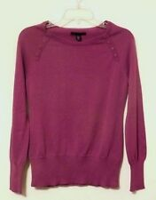 NEW Kenneth Cole Women's Crew-neck Knit Sweater Buttoned Accents BOYSENBERRY S