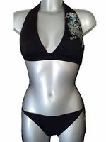 New Black Bikini Set UK 14 for C or D cups Ladies Swimwear RRP £47 Halter Neck