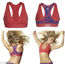 NWOT Authentic Zumba Pretty In Print V-Bra Top Candy Coral  Size Small SOLD OUT