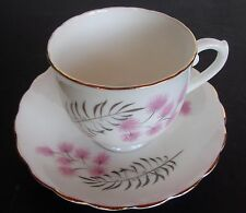 Vtg English Castle Bone China Cup And Saucer Staffordshire England Pink Flowers