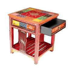 Handcraft Vintage-Wooden multi color Traditional-Bedside-Hotel-Home-Furniture-16