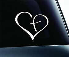 """Heart with Cross in Center Decal Sticker Vinyl for Car Auto Christian 3.5"""" X 3.5"""