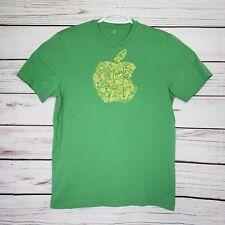 APPLE Camp Green Abstract Graphic Shirt Size Small Mac Macintosh Computer -E1