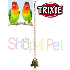 BIRD CAGE TOY TRIXIE METAL BELL with HANGING CHAIN & CLIP FOR PET