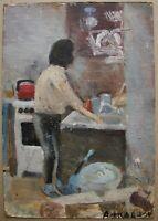 Russian Ukrainian Soviet Oil Painting postimpressionism kitchen girl washing