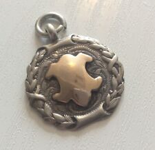 Lovely Antique Solid Silver & Gold Inlay Fob Medal Pendant